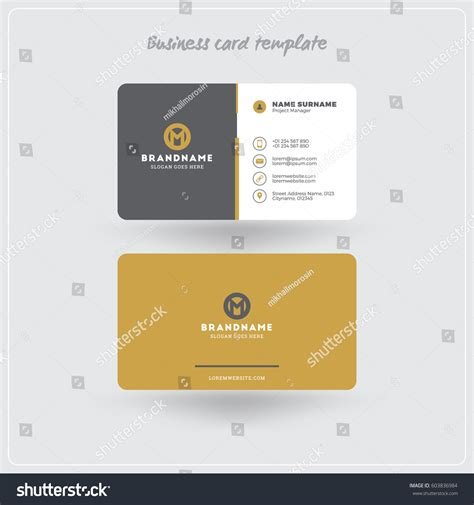 business card template for self printing golden gray business card print template stock vector