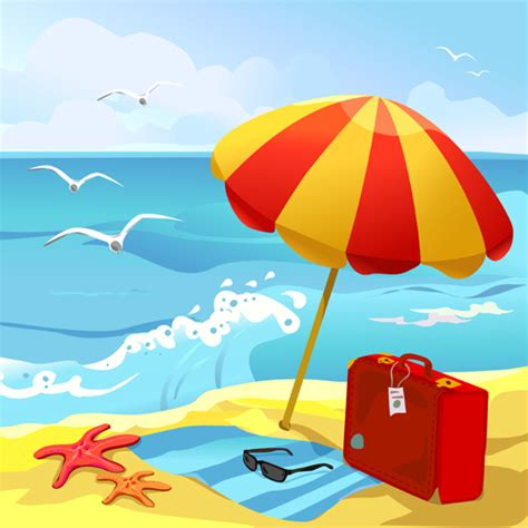 cartoon vacation wallpaper summer beach travel backgrounds vector 04 vector