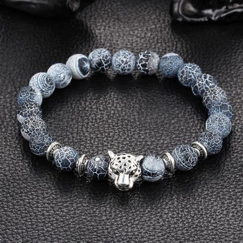 Kittenup New Fashion Gold Color Silver Color Leopard Head Lava Stone Onyx Bead Bracelet Charm