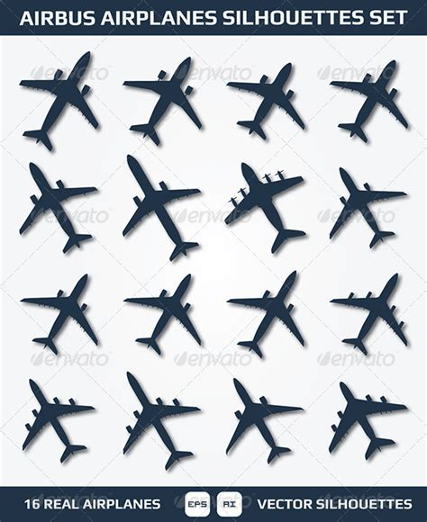 airbus airplanes silhouettes set graphicriver