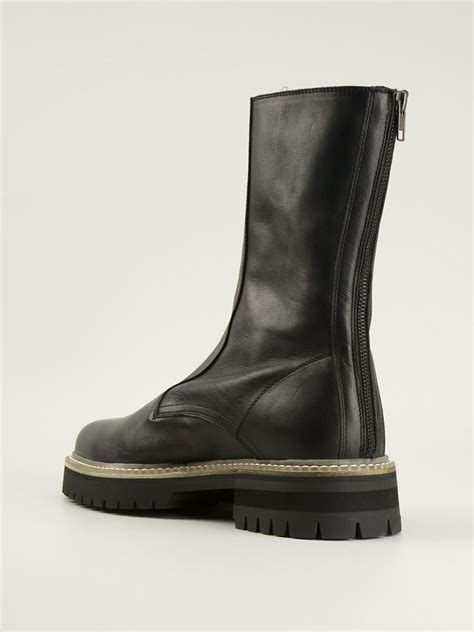 demeulemeester boots demeulemeester classic biker boots in black for lyst