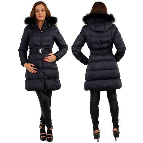 Jaket Navy Winter Jacket Black 100 Original womens padded puffer shell length winter jacket coat puffa fur zip
