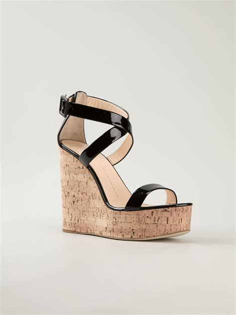strappy wedge sandals giuseppe zanotti wedge strappy sandals in black lyst