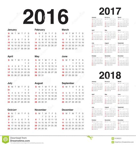 Calendã Unb 2018 Calendar 2016 2017 2018 Stock Vector Image 61090221