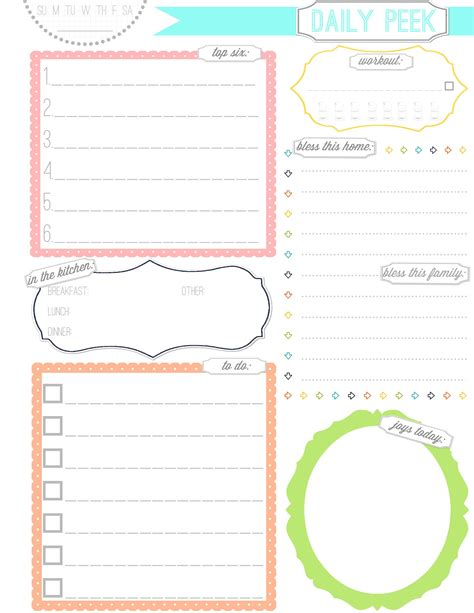 9 Best Images Of Cute Printable Weekly Planners 2015 | 9 best images of cute daily planner page free printable