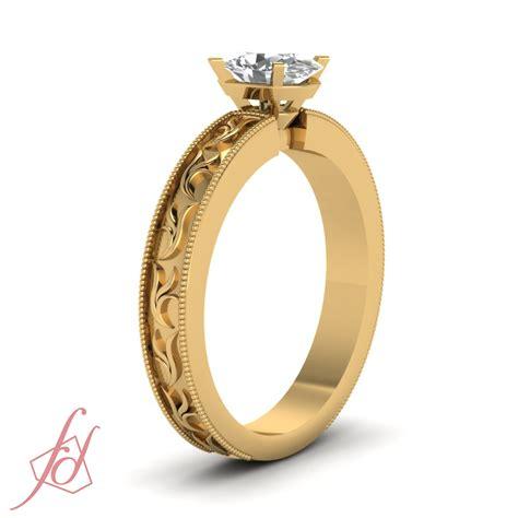 solitaire leaf style milgrain engagement ring 1 2 carat