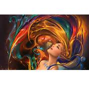 Girl Colorful Hair Psychedelic Wallpapers