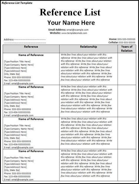 reference list template word reference list template word excel formats
