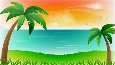 wallpaper pemandangan alam kartun kumpulan gambar pemandangan pantai kartun terlengkap