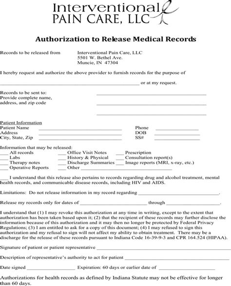 Records Indiana Free Indiana Records Release Form For Free Formtemplate