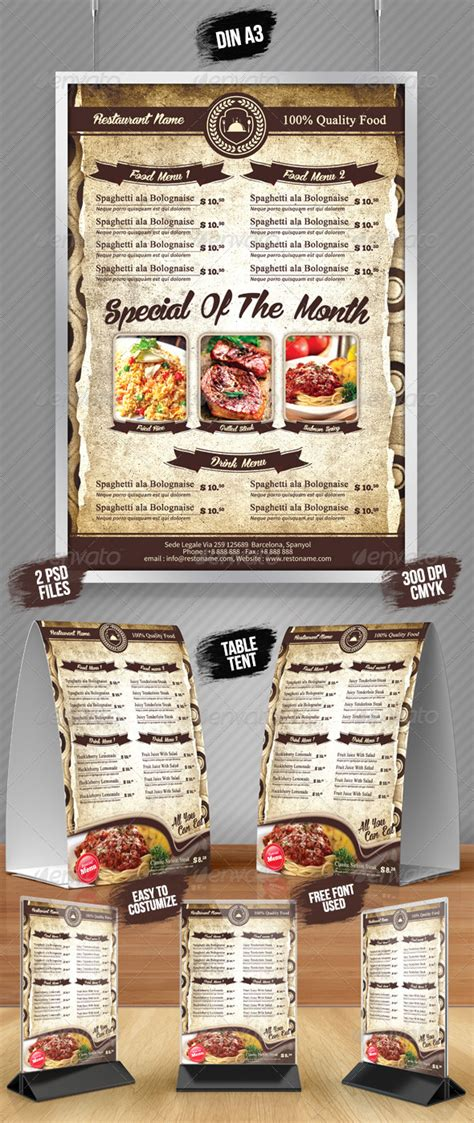 a5 menu template a3 poster a5 table tent menu by fahmijoe ind graphicriver