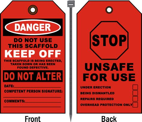 printable danger tags danger do not use this scaffold tag by safetysign com e1515