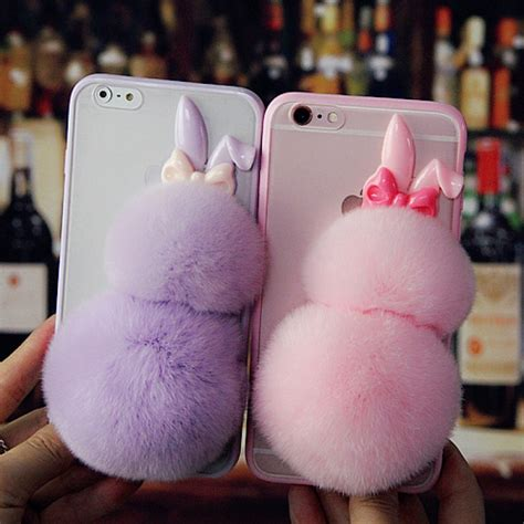 Softcase Tpu Bunny Lucu Soft Cover Casing Iphone 5 5s Se bunny ears rabbit fur soft tpu bumper back for iphone 8 7 4 7 inch