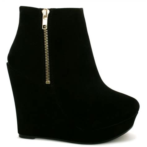 buy dusk wedge heel platform ankle boots black suede style