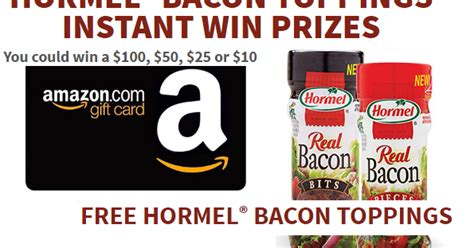 Amazon Instant Video Gift Card Restrictions - hormel amazon gift card and bacon toppings instant win giveaway 470 winners win