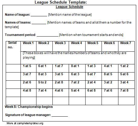 schedule template for league exle of league schedule
