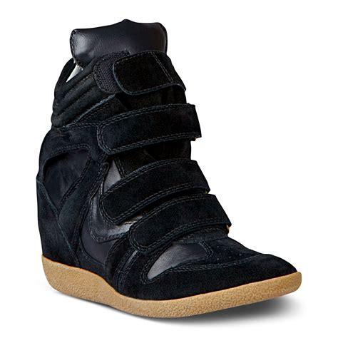 steve madden sneakers steve madden hilight wedge sneakers in black lyst