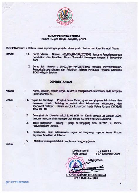 Surat Perintah Tugas by Edi Sutanto Juli 2013