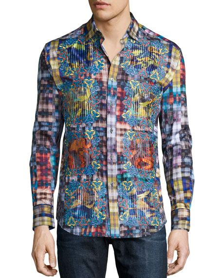 Limited Pink Plaid Shirt robert graham limited edition plaid sport shirt with embroidery multi