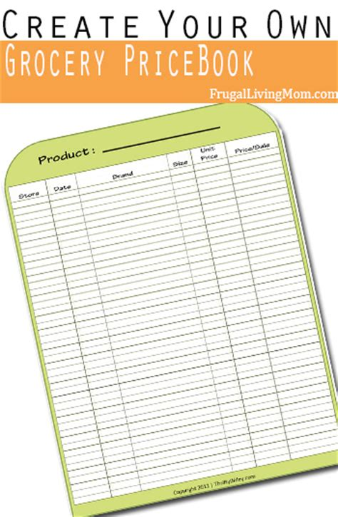printable grocery price book template how to create your own grocery price book