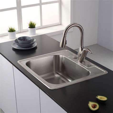 top mount kitchen sinks kraus 25 topmount single bowl 18 stainless steel
