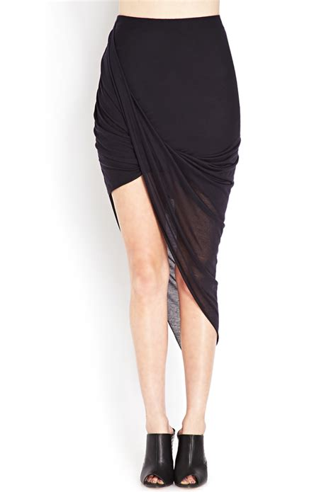 Forever 21 Draped Asymmetrical Maxi Skirt In Black Lyst