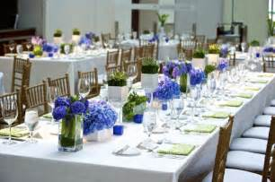 Table using a white cloth centerpieces for rectangular tables