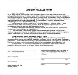 insurance release form template sle liability release form exles 9 free