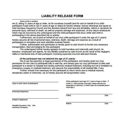 Release And Hold Harmless Letter free liability release form template