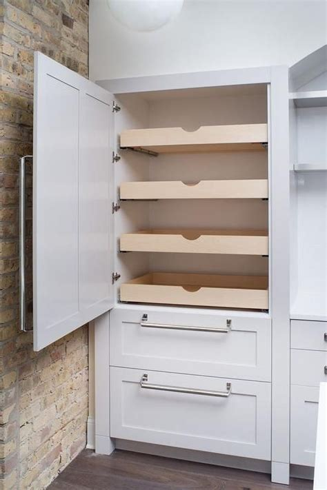kitchen wall cabinets with drawers hidden pantry with stacked pull out shelves transitional