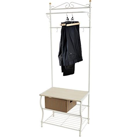 coat hanger with storage bench entryway white metal storage bench and coat rack organizing hanger stand w hanging