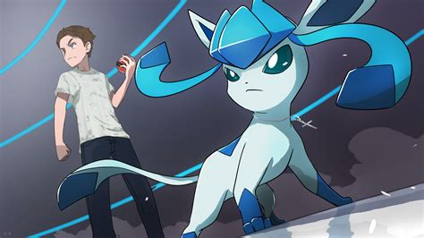 and trainer commission trainer with glaceon by mark331 on deviantart