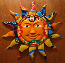 Mexican Wall Decor by Gorgeous Metal Talavera Tile Style Mexican Sun Wall