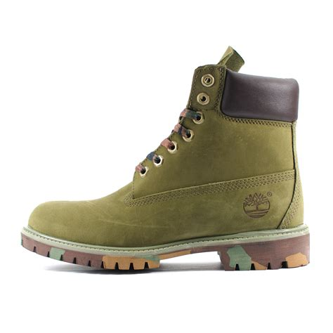 Mens Timberland 6 Inch Premium Camo Pack Army Green
