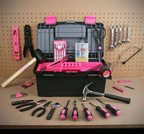 Not So Pink Tool Kit by Apollo Tools 170 Household Tool Kit With Tool Box