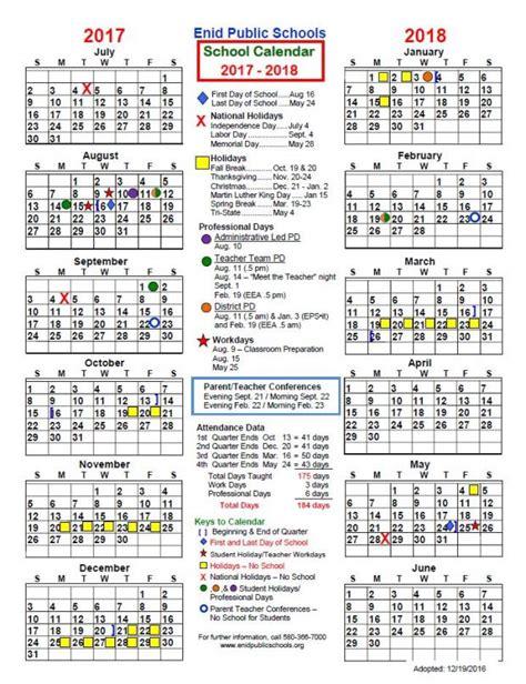 Middle School Calendar by Enid School 2017 18 District Calendar