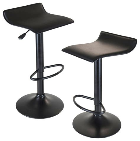 backless black swivel bar stools winsome wood 20239 obsidian airlift stool swivel backless