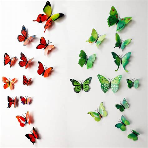 Wall Stickers Multicolor 3 2 מוצר 3d butterfly wall decals multicolor pvc wall