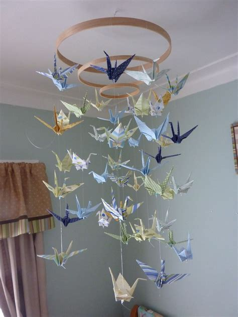 How To Make A Paper Crane Mobile - diy baby origami paper crane mobile chandelier planning
