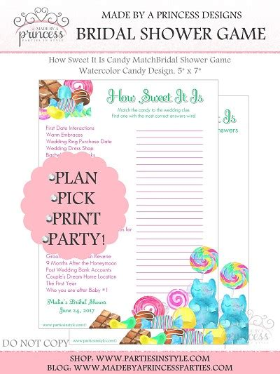 free printable bridal shower games how sweet it is how sweet it is candy match bridal shower game watercolor