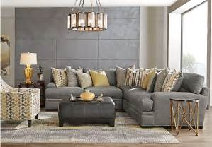 Down Filled Sofa Sectional Cindy Crawford Home Palm Springs Gray 3 Pc Sectional