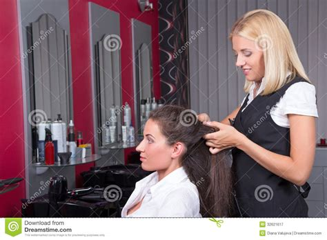 haircuts on women at barbershops woman getting new haircut hairdresser barbershop