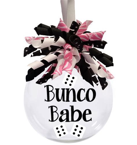 bunco babe christmas ornament with ribbon