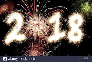 The Year 2018 3d Rendering Of Happy New Year Fireworks With The Year