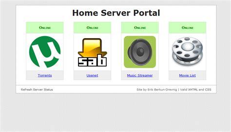 home server web interface erik web design