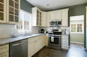 Off White Subway Tile Kitchen With Off White Shaker Style Cabinets White Subway