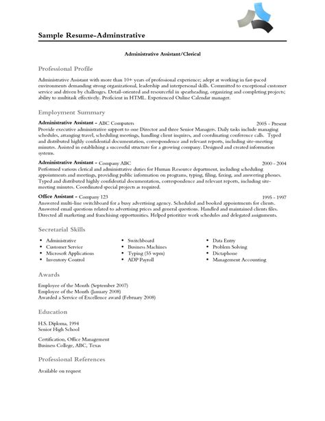 Professional Profile Resume by Resume Professional Profile Exles Professional Profile