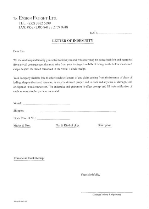 indemnification letter template vaniglia indemnity letter