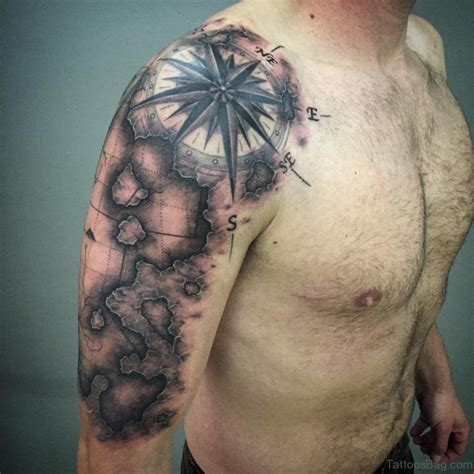 compass and map tattoo 49 funky map tattoos on shoulder