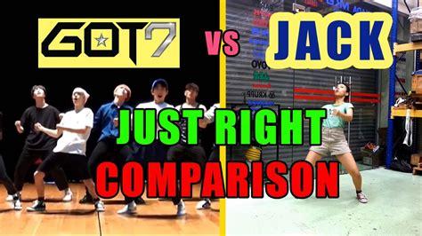 tutorial dance got7 just right got7 just right 딱 좋아 comparison dance cover youtube